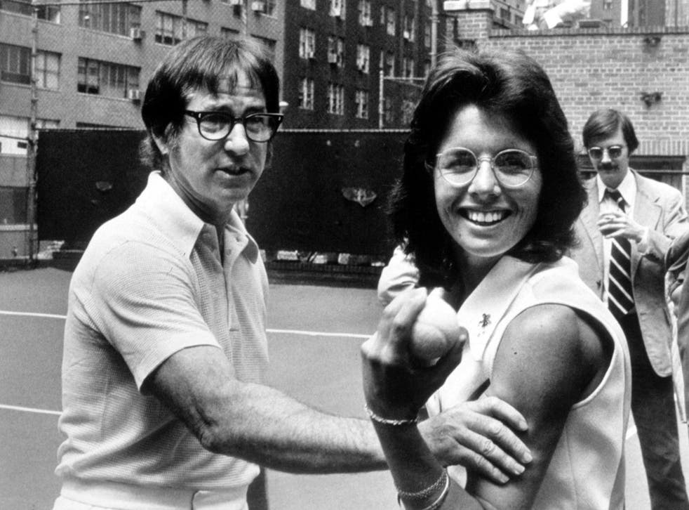 Billie Jean King and Bobby Riggs face each other in their epic match
