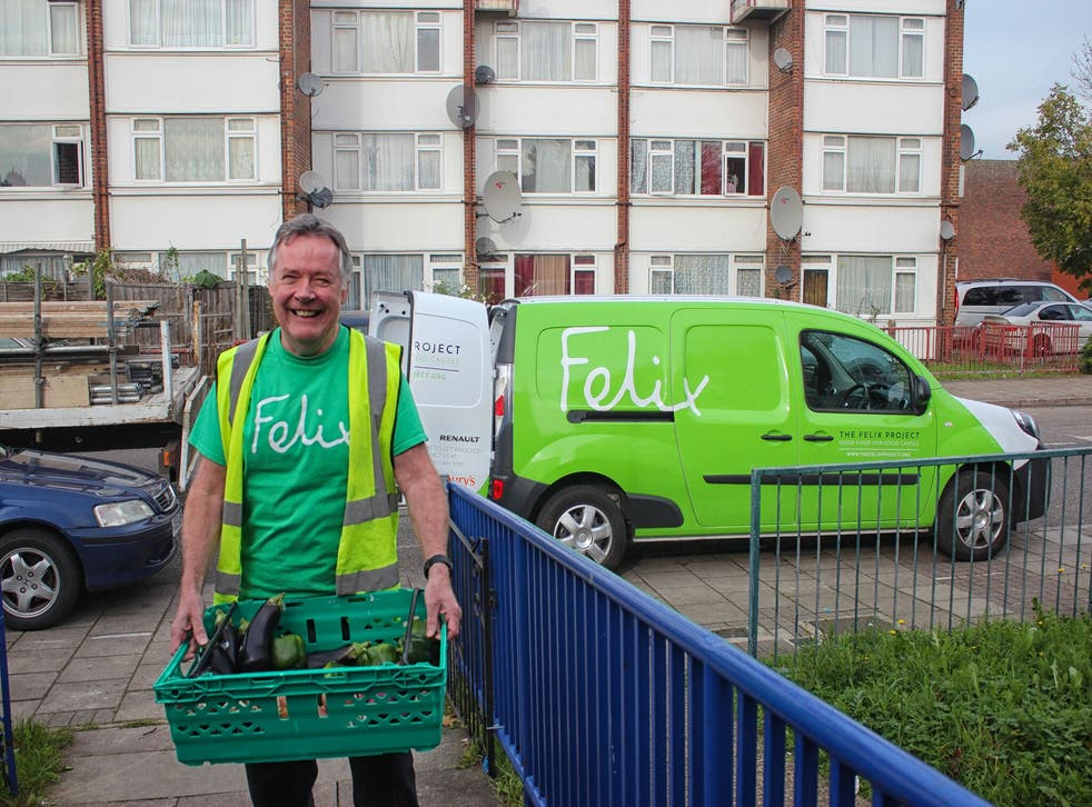 Felix volunteer John delivers a fresh food parcel to a charity