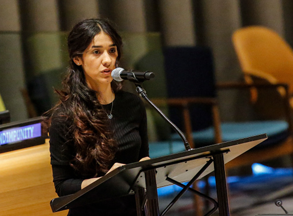 Yazidi human rights activist Nadia Murad speaks as she attends at the United Nations