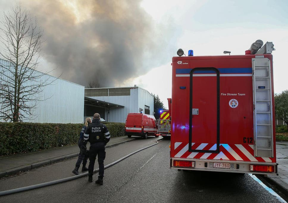 86e080865b1629 Emergency services at the scene of the fire at the Milcamps waffle factory  in Brussels