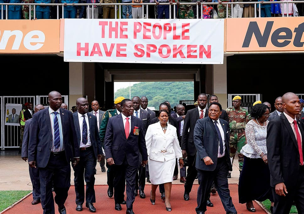 Emmerson Mnangagwa And His Wife Auxillia Arrive At The Presidential Inauguration Ceremony In The Capital Harare