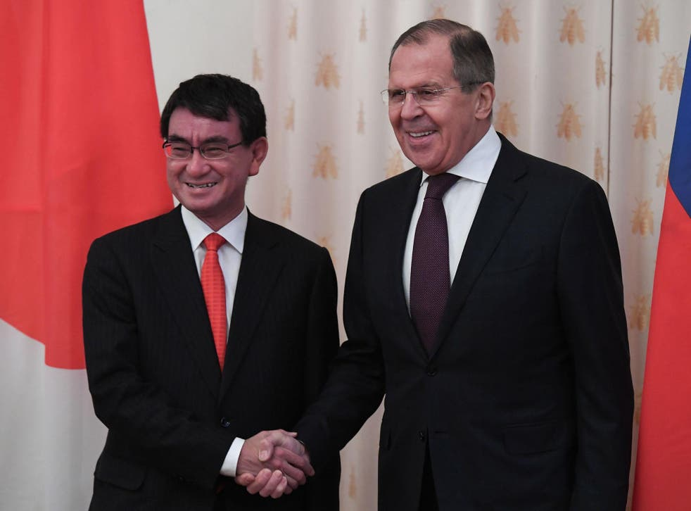 Russian foreign minister Sergei Lavrov (right) with his Japanese counterpart Taro Kono in Moscow