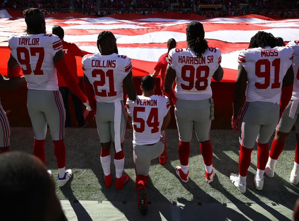 Olivier Vernon #54 of the New York Giants kneels during the national anthem (Photo by Ezra Shaw/Getty Images)