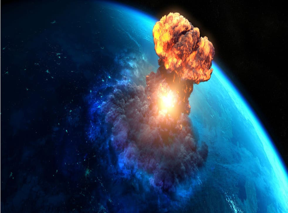 Explosion on Earth, stock image