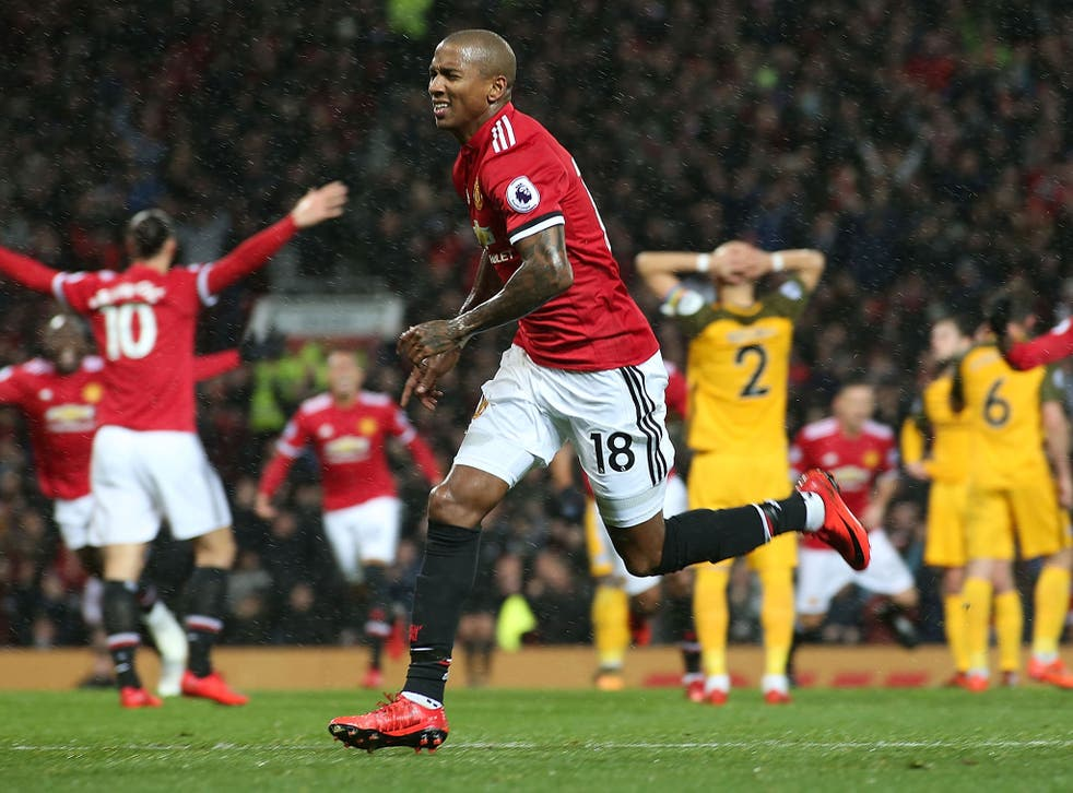 Ashley Young celebrates breaking the deadlock for Manchester United