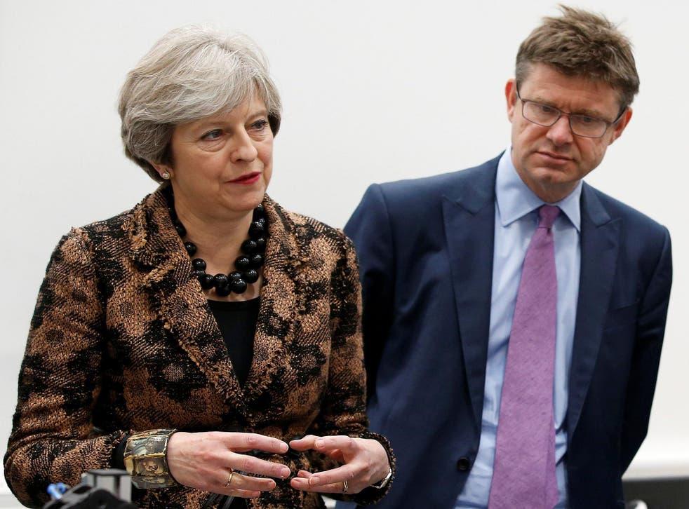 Theresa May with Business Secretary Greg Clark last week