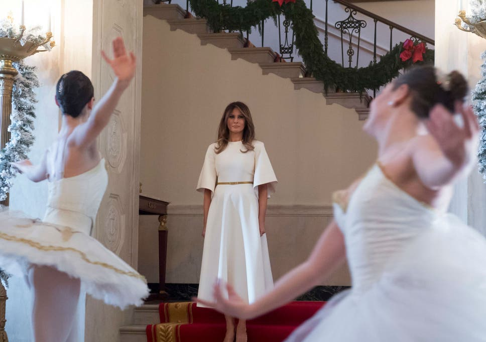 Melania Trump White House Christmas.First Lady Melania Reveals First Trump Christmas White House