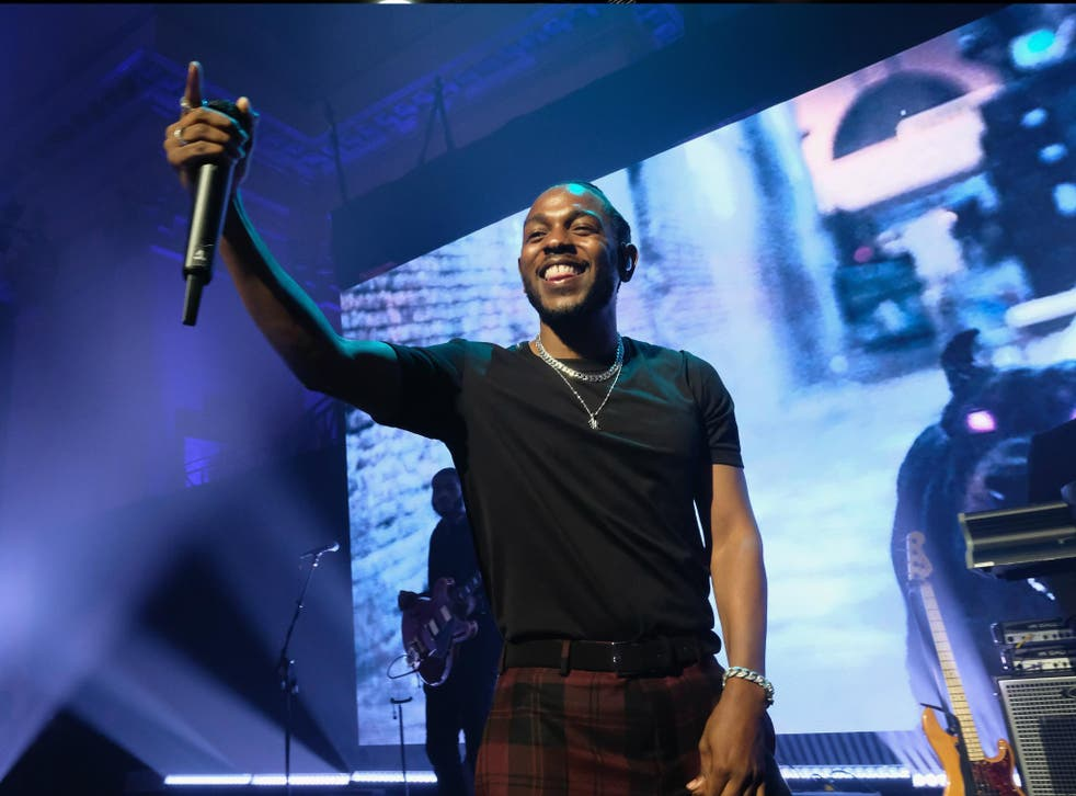 Kendrick Lamar performs onstage at Rhianna's charity event on 14 September 2017. He is nominated for seven Grammys.