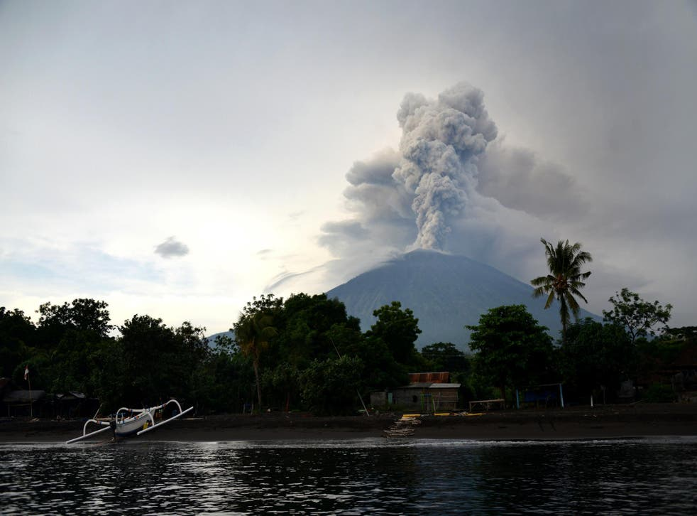 A general view shows Mount Agung erupting seen from Karangasem Regency on Indonesia's resort island of Bali