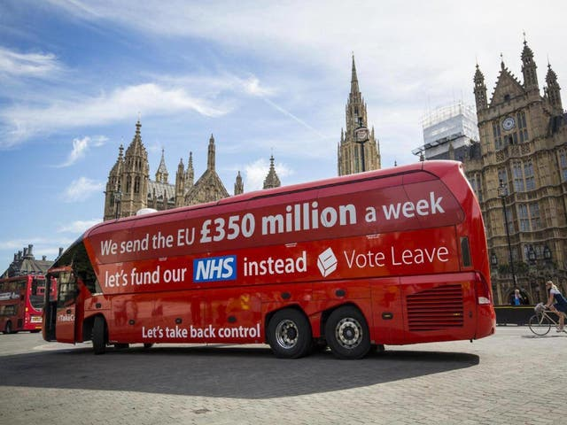 Vote Leave's £350m-a-weekclaim was hugely prominent during the referendum campaign (Getty)