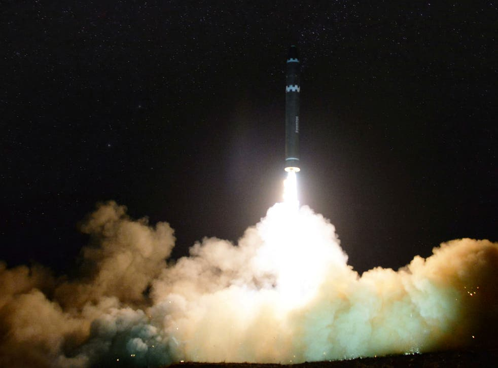 A view of the newly developed intercontinental ballistic rocket Hwasong-15's test that was successfully launched by North Korea