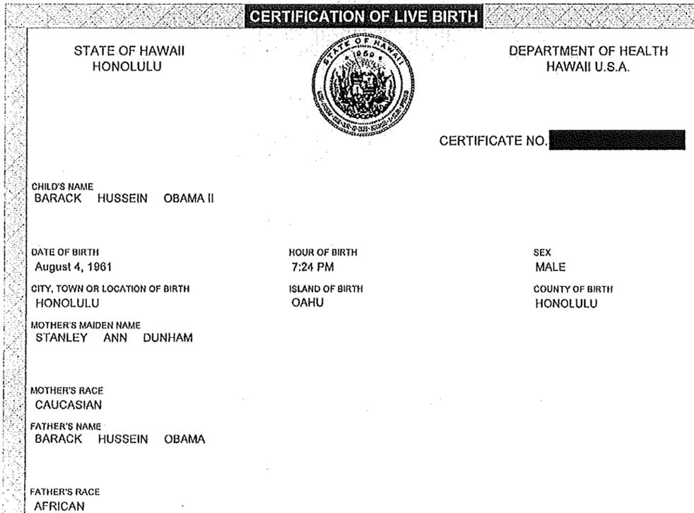 Barack Obama's birth certificate demonstrates he was born in America