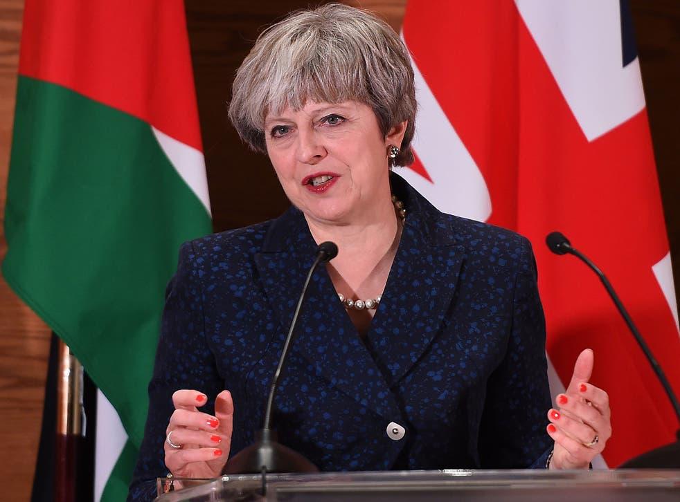 Prime Minister Theresa May speaks on her visit to Jordan