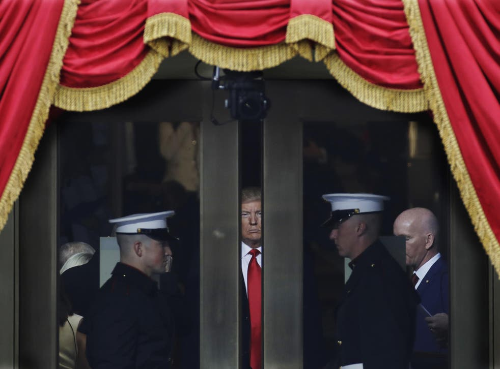 Donald Trump waiting to step out onto the portico for his presidential inauguration at the US Capitol in Washington
