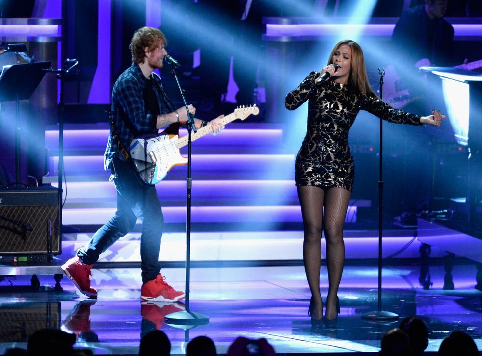 Ed Sheeran performs with Beyonce at a Stevie Wonder tribute at the Grammys in 2015