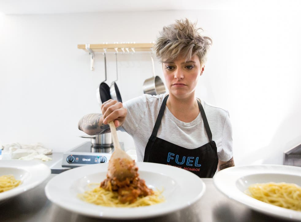 Monroe cooking at the launch of Fuel Bank,  a charitable pop-up raising awareness of the 'heat or eat' crisis