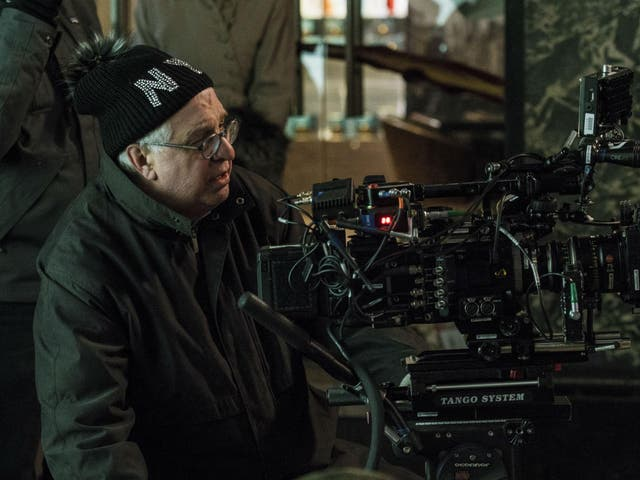 Director Errol Morris behind the camera on the set of 'Wormwood'