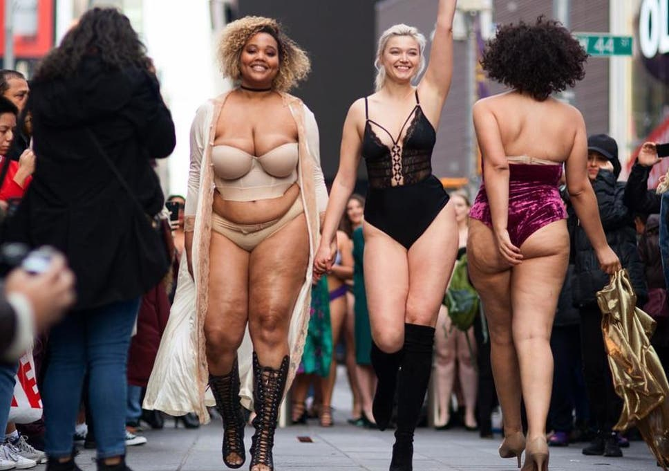 6203340717b19 Models of all sizes transform Times Square into body positive catwalk.