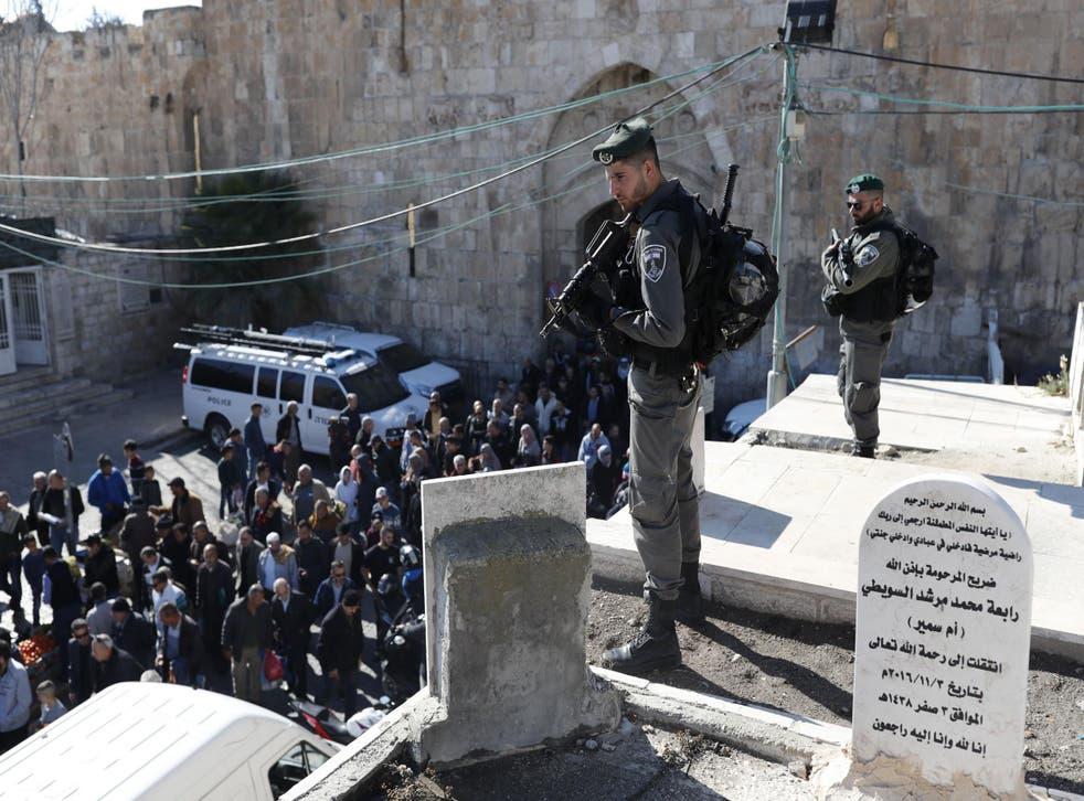 Israeli forces stand guard in Jerusalem's Old City on 8 December 2017