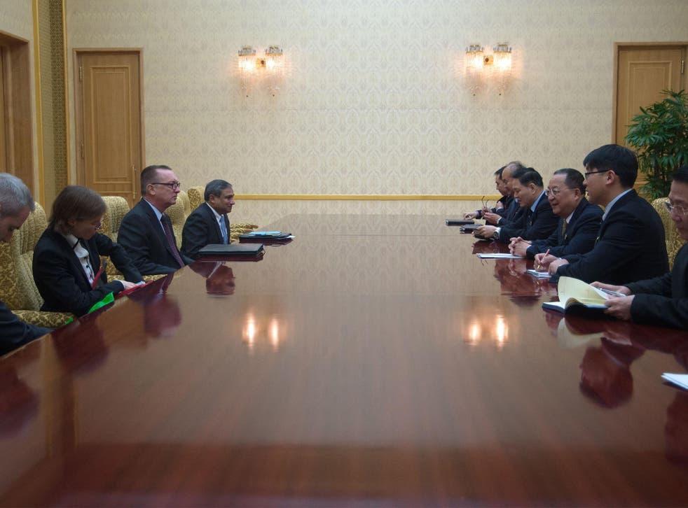 The UN envoy talk with North Korean officials in Pyongyang