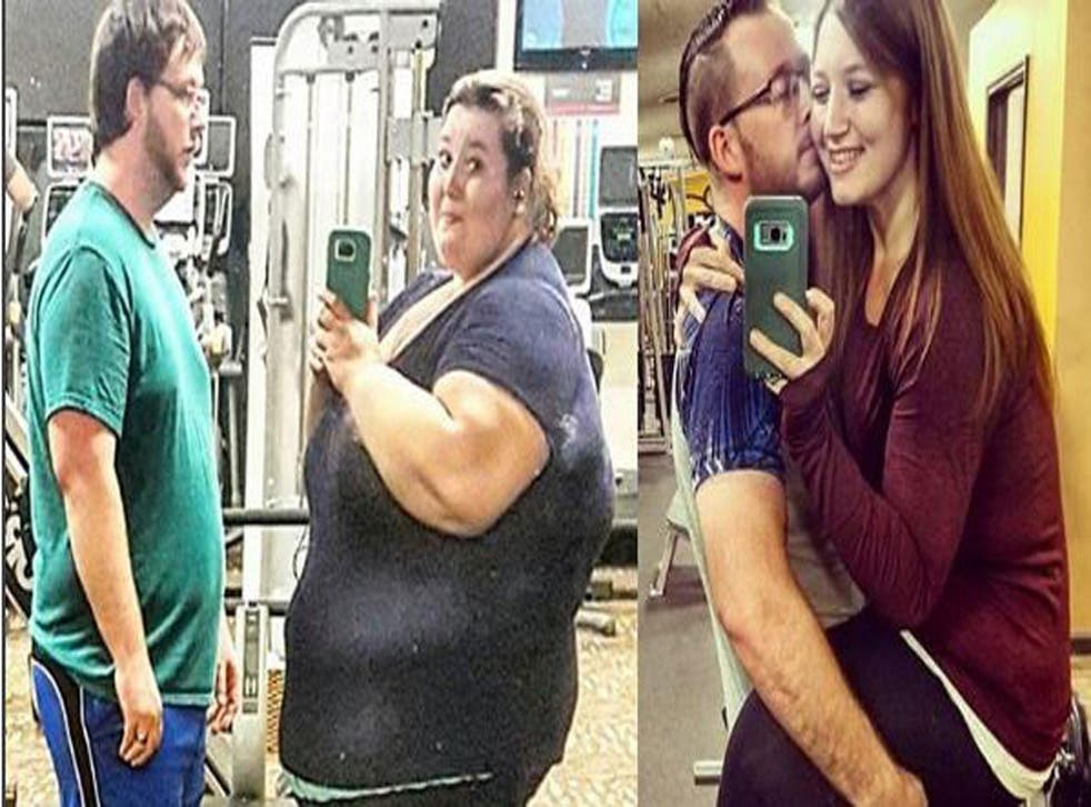 Lexi Reed and her husband Danny, before and after their weight loss