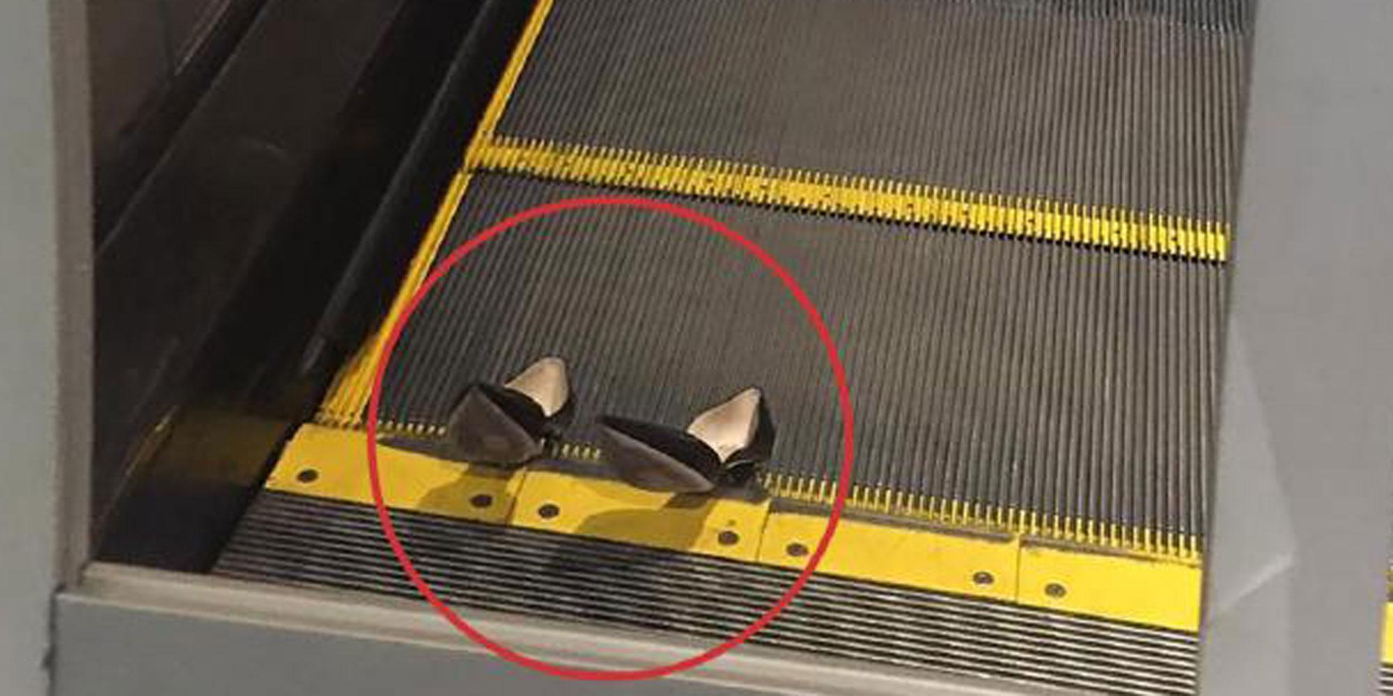 High heels stuck on an escalator jd parker