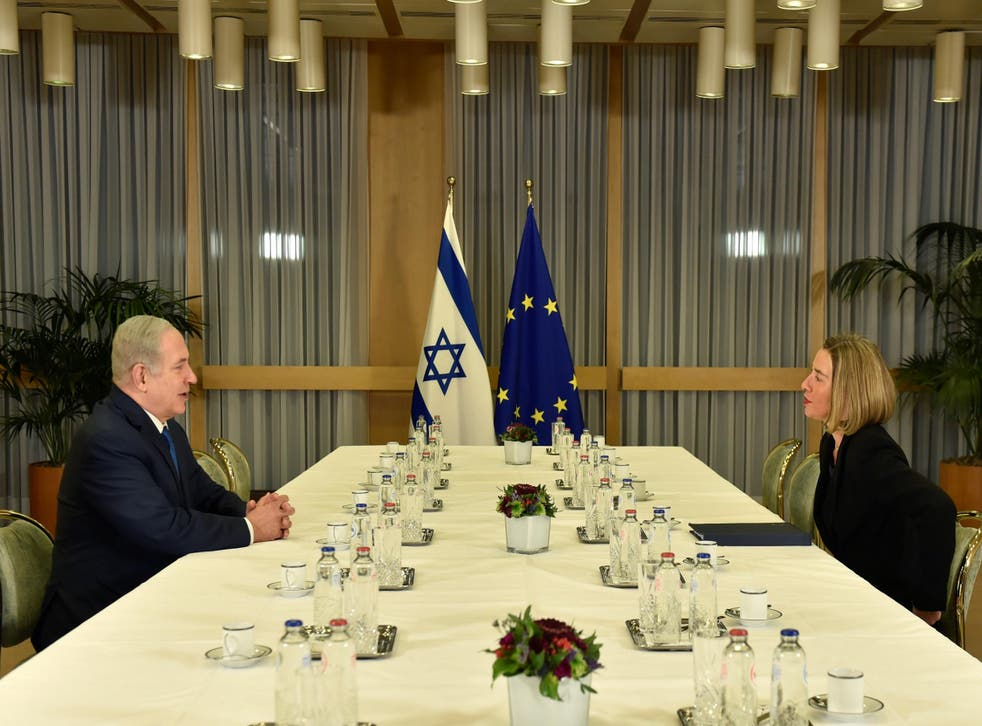 EU foreign policy chief Federica Mogherini meets with Israeli Prime Minister Benjamin Netanyahu at the European Council headquarters in Brussels, Belgium on 11 December 2017