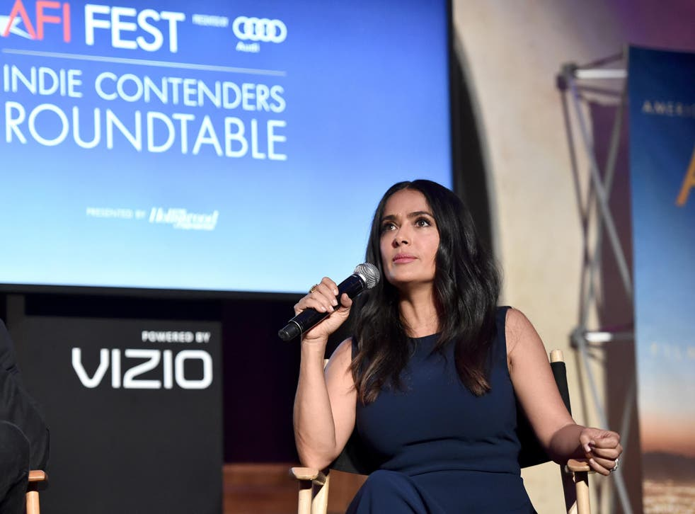Salma Hayek speaks onstage during 'Indie Contenders Roundtable' at AFI FEST 2017 Presented By Audi at Hollywood Roosevelt Hotel on November 12, 2017 in Hollywood, California. Credit: Alberto E. Rodriguez/Getty Images for AFI.