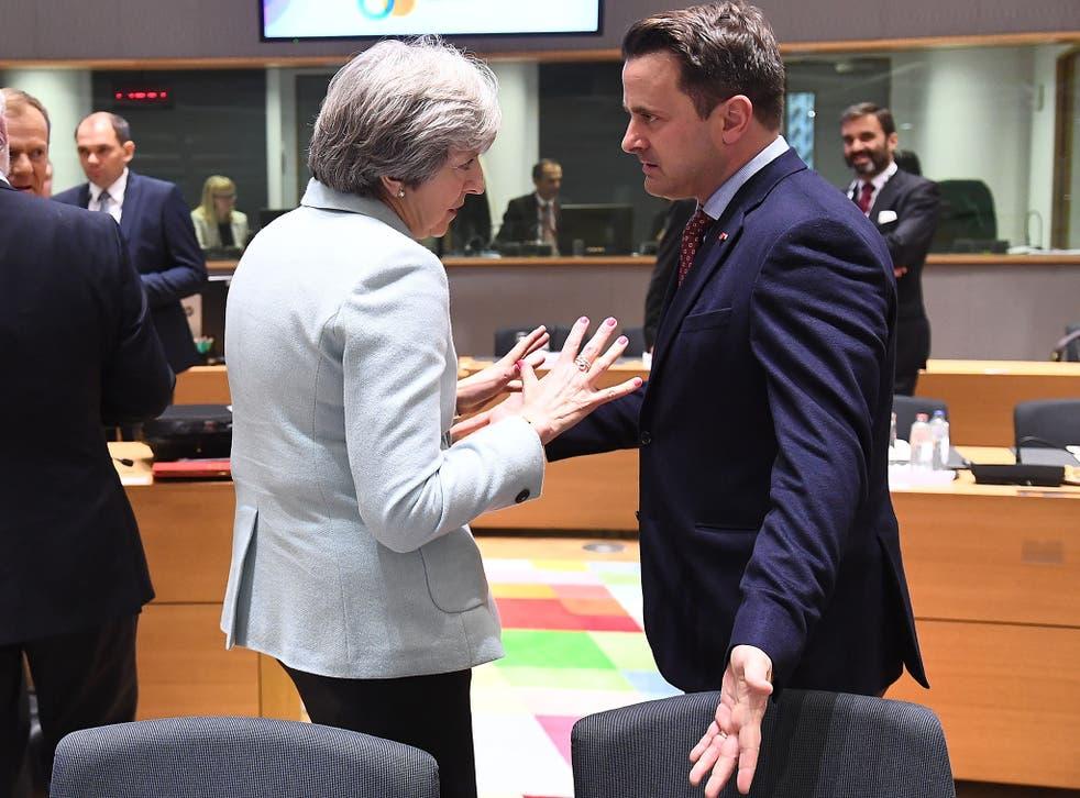 Theresa May and Xaxier Bettel at a summit (file)