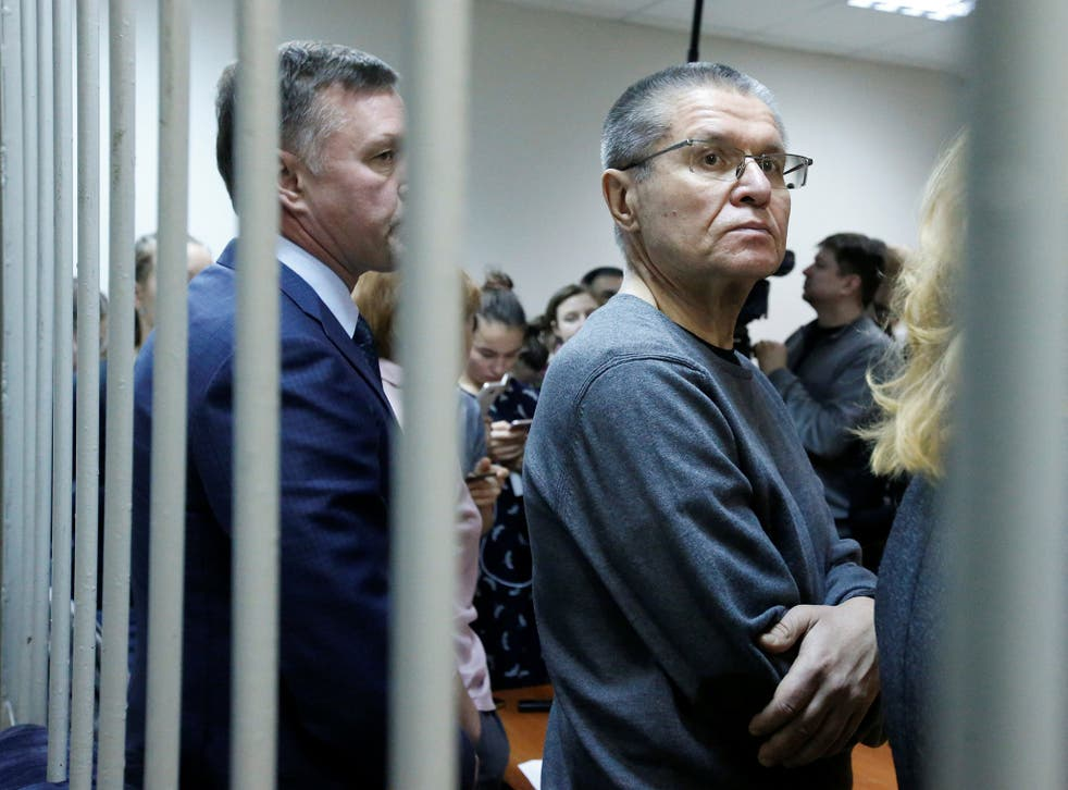 Russia's former economy minister, Alexei Ulyukayev, waits for the start of the court hearing on Friday