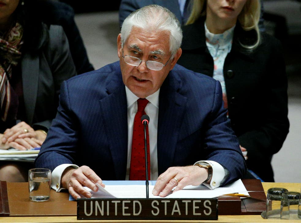 Rex Tillerson speaks during the United Nations Security Council meeting on North Korea's nuclear program at UN headquarters in New York City