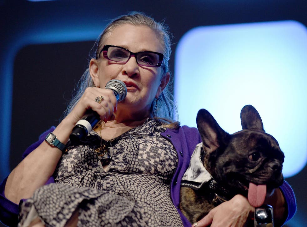 Carrie Fisher and dog Gary on stage during Future Directors Panel at the Star Wars Celebration 2016 at ExCel on July 17, 2016 in London, England. Credit: Ben A. Pruchnie/Getty Images for Walt Disney Studios.