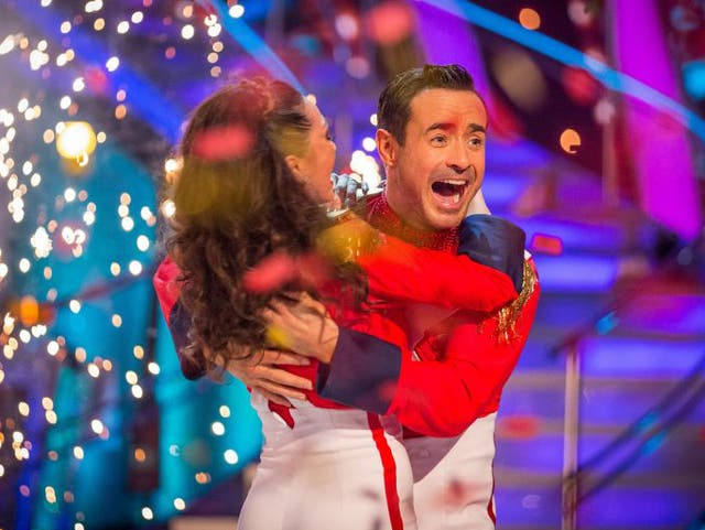 Katya Jones and Joe McFadden react as they are announced as the winners of the final of the BBC 1 programme Strictly Come Dancing