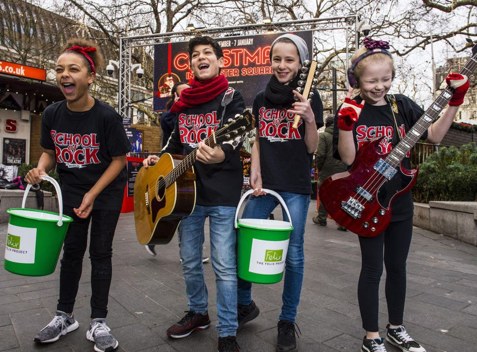 Cast from the hit London musical School of Rock entertained crowds to raise funds for The Felix Project