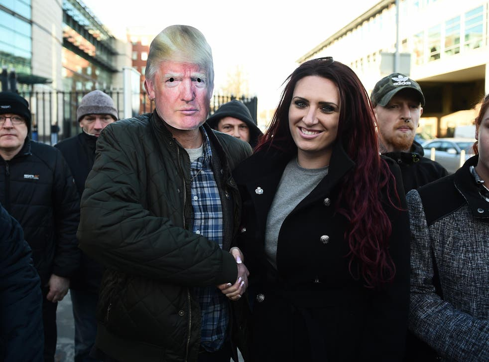 Jayda Fransen, pictured outside a Belfast court at the weekend, had three video posts retweeted by the US President last month