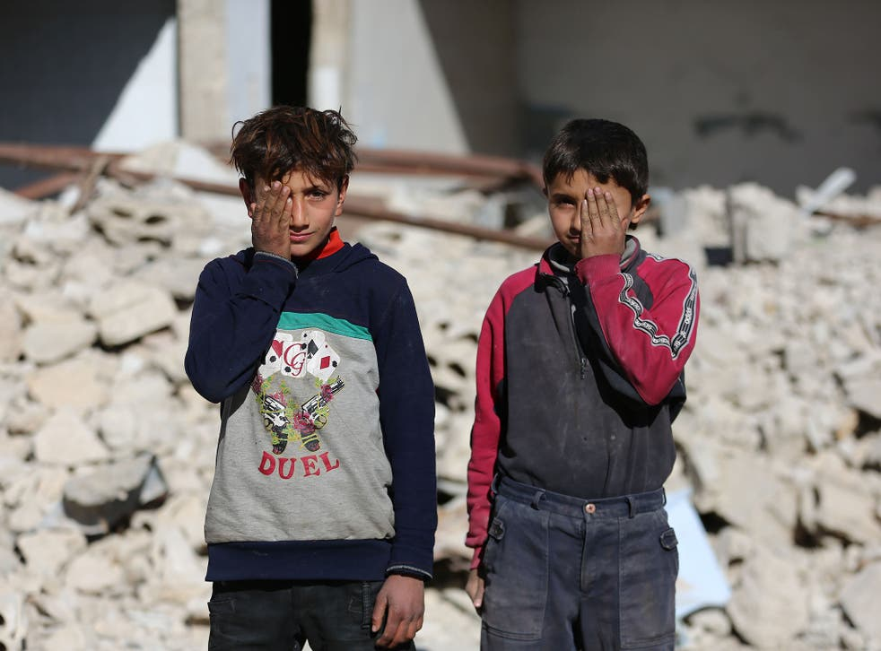 Children join the campaign and pose covering one eye with their hand