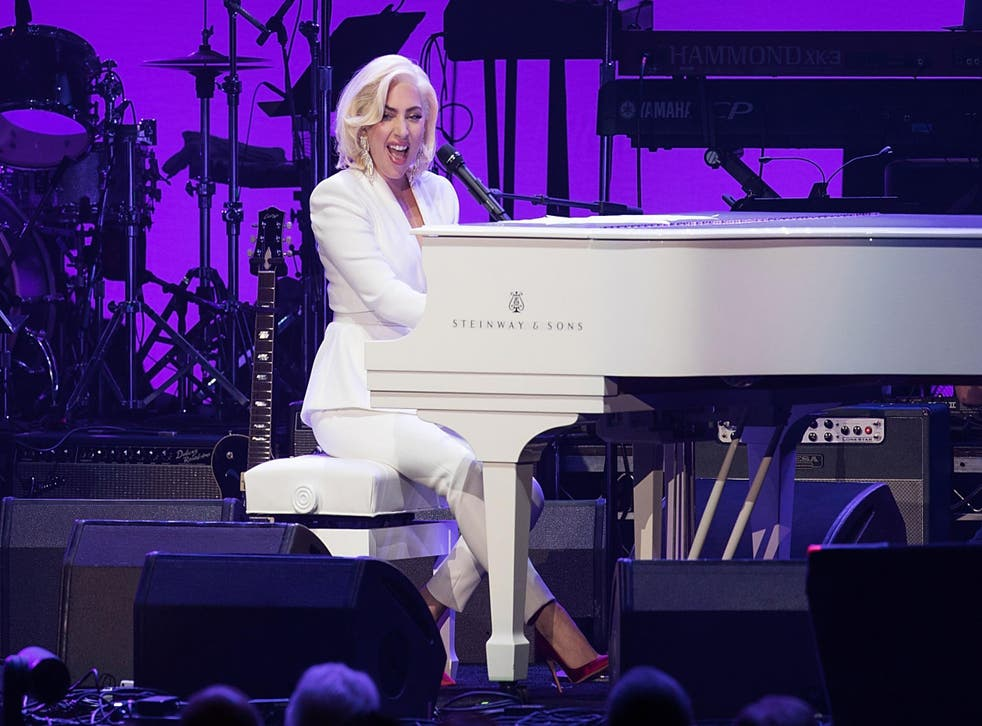 Lady Gaga performs onstage during the 'Deep from the Heart: The One America Appeal Concert' at Reed Arena on the campus of Texas A&M University on October 21, 2017 in College Station, Texas. Credit: Rick Kern/Getty Images for Ford Motor Company.