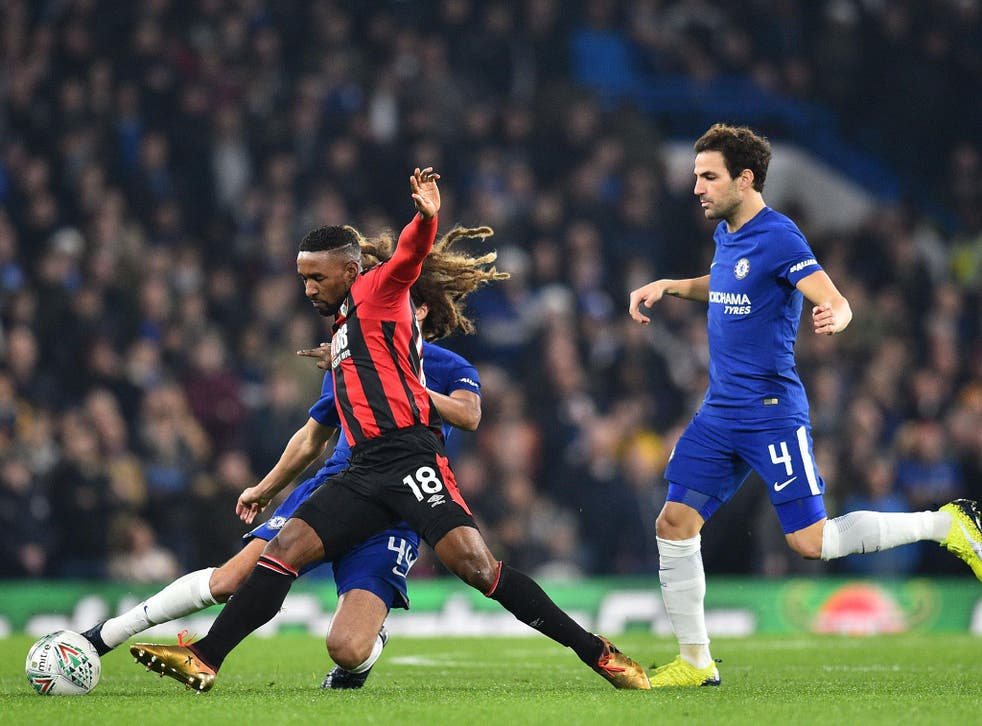 Ethan Ampadu makes a challenge on the Bournemouth forward