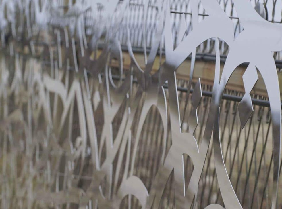A close-up of the artwork installed along the DMZ fence in South Korea