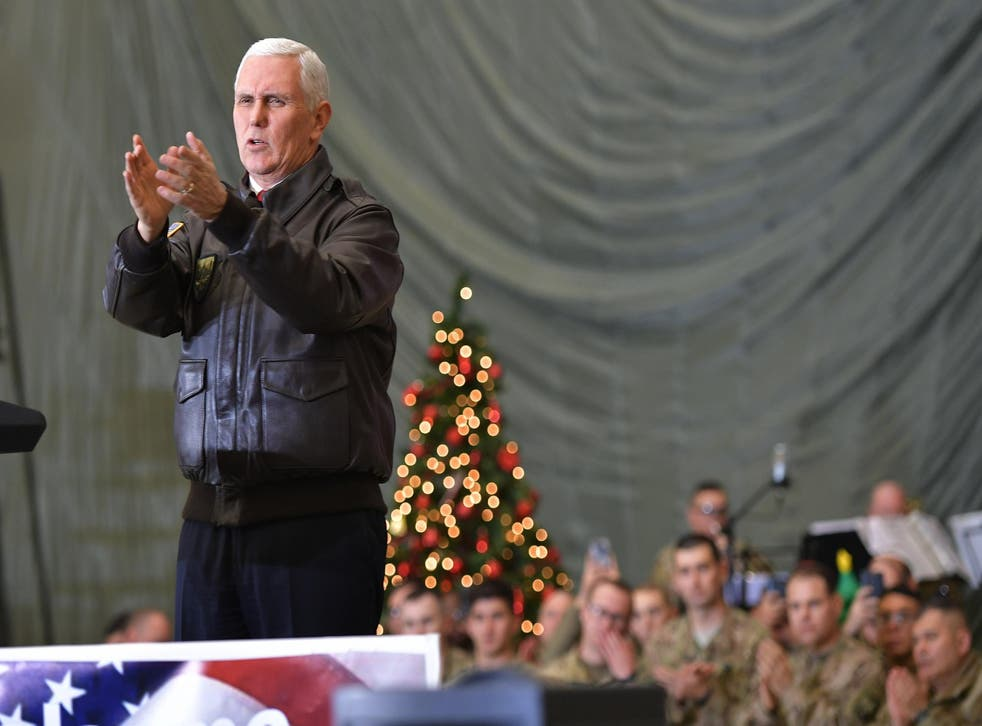 Mike Pence greets soldiers during a surprise pre-Christmas trip to Afghanistan