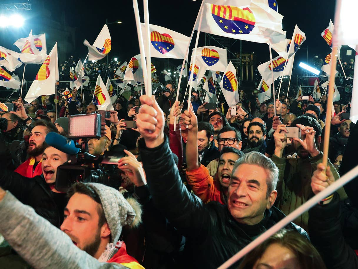 catalonia separatists celebrate victory against the Madrid government