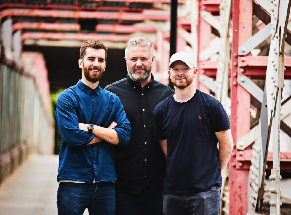 Mike Ruffles, Matt Thomas and Lee Tombs, founders of Beardpoo, a beard shampoo and moisturiser that donates 25 per cent of profits to preventing male suicide.