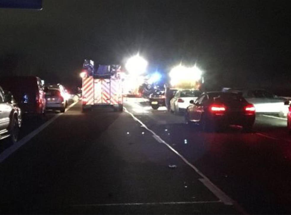 Fire crews were on the scene at the M40 northbound