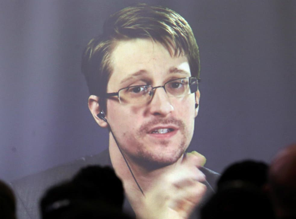 Edward Snowden speaks via video link during a conference at University of Buenos Aires Law School, Argentina, November 14, 2016