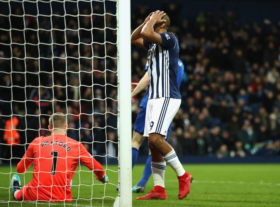 Salomon Rondon reacts to missing a chance in front of goal during West Brom's draw with Everton