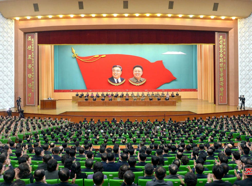 A general view of a national meeting that took place at the People's Palace of Culture on Sunday to mark the 100th birth anniversary of the anti-Japanese war heroine Kim Jong Suk in this photo released by North Korea's Korean Central News Agency (KCNA) in Pyongyang.