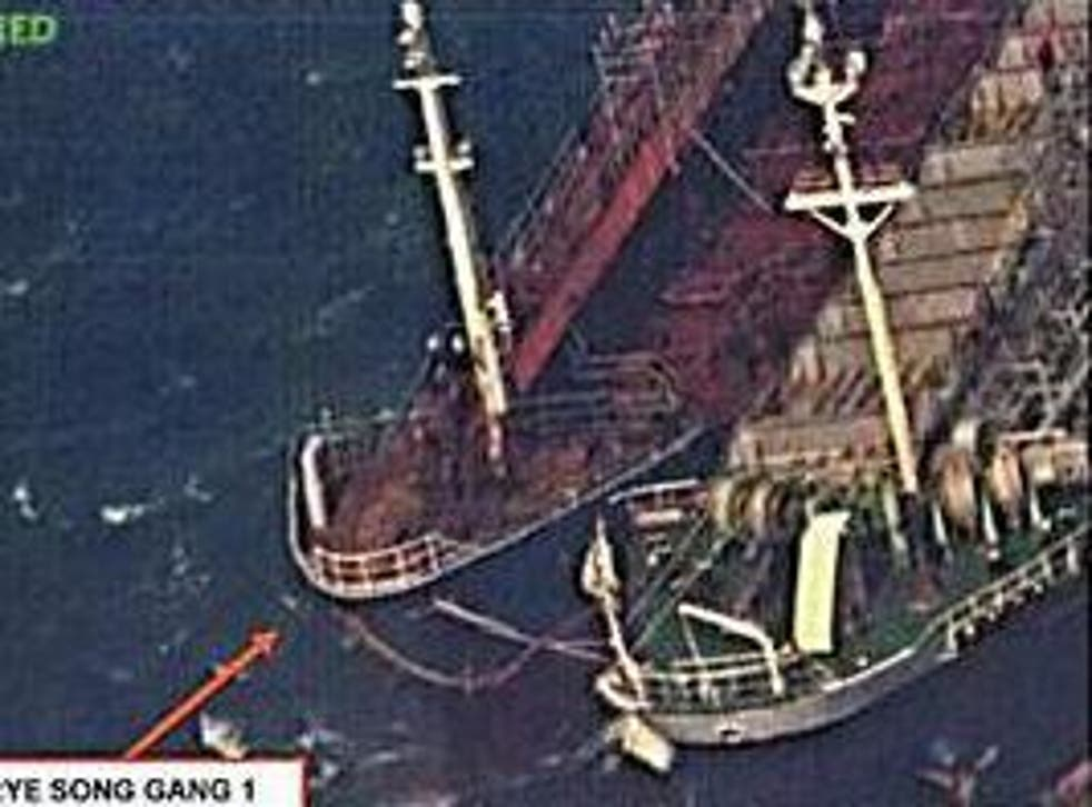 The US claims this photo shows a North Korean ship conducting a ship-to-ship transfer, possibly of oil, in an effort to evade sanctions