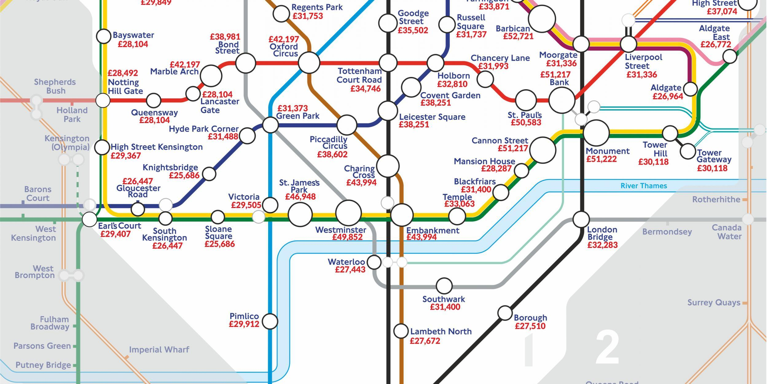 Marble Arch London Map.The London Underground Map Of Salaries Indy100