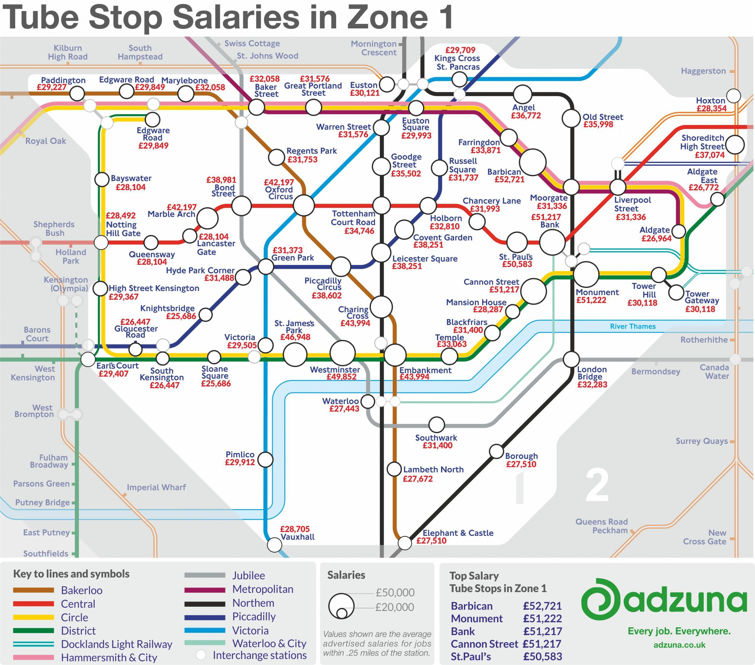 Full Map Of London.The London Underground Map Of Salaries Indy100