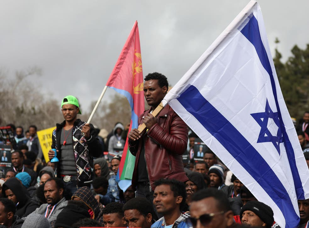 African asylum seekers, mostly from Eritrea, take part in a protest against Israel's deportation policy last year